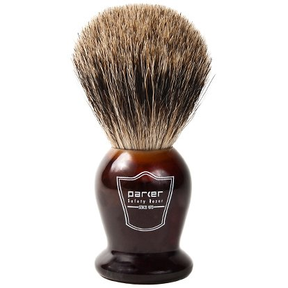 """Parker Safety Razor """"SUPER SOFT"""" 100% BEST Badger Bristle Shaving Brush with Faux Tortoise Shell Handle -- Brush Stand Included"""