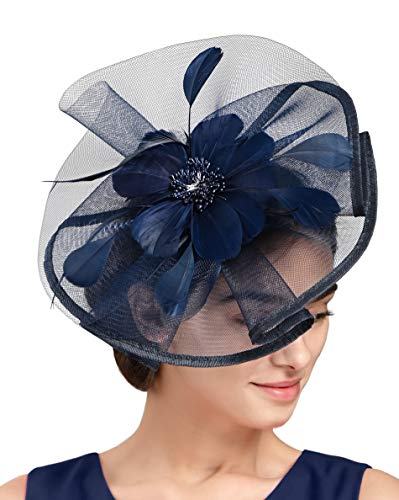 Fascinators Hat for Women Tea Party Headband Fancy Dress Accessories Wedding Cocktail Flower Mesh Feathers Hair Clip (Z-Navy Blue)