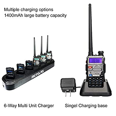 Retevis RT-5RV Two Way Radios 128CH VHF/UHF Radio Dual Band 2 Way Radio Walkie Talkies Long Rang FM VOX CTCSS/DCS 2 Way Radios with Earpiece(6 Pack) with 6-Way Multi Unit Charger