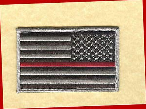 "Hook/Loop US Flag 3.5"" Black/Grey Stars Right RED LINE Patch FIRE Earl-V-DTJ by HighQ Store from HighQ Store"
