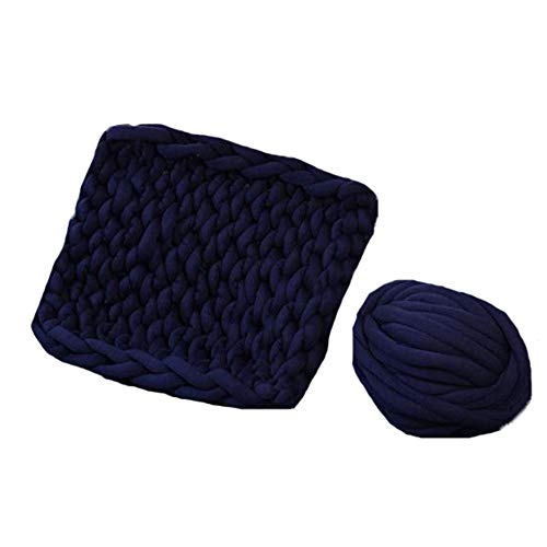 Navy Blue Braid Cotton Chunky Arm Knitting Blanket,59''x71'' Super Chunky Blanket,Giant Knit Blanket,Thick Hand Blanket Friend Family Gift by FAU-Hand Knit Blanket (Image #2)