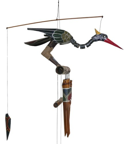 Cohasset Gifts 174A Cohasset Abby Bobbing Head Bird Bamboo Wind Chime, Hand Painted Spotted Multi-Hued Design