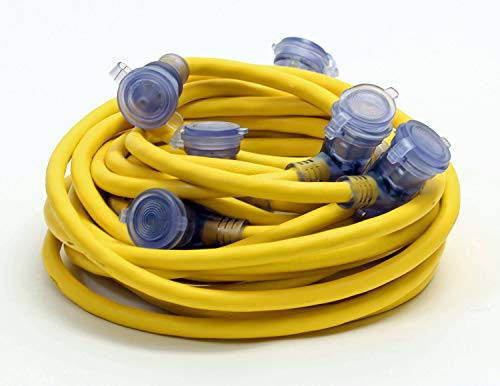 50-Foot 12/3 Yellow Outdoor Multi Outlet Extension Cord 5 Water Resistant Covered Outlets