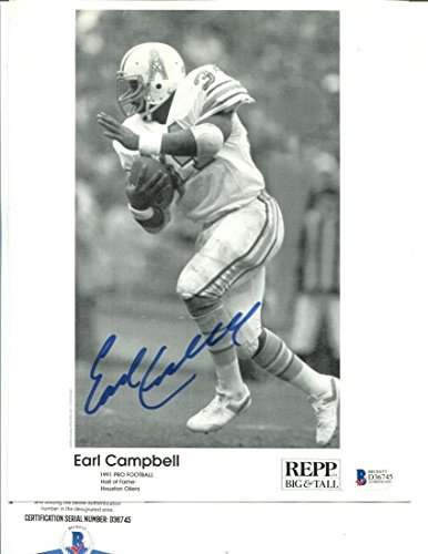 Campbell Autographed Photo - Earl Campbell Signed Photo 8x10 Autographed Oilers Beckett BAS