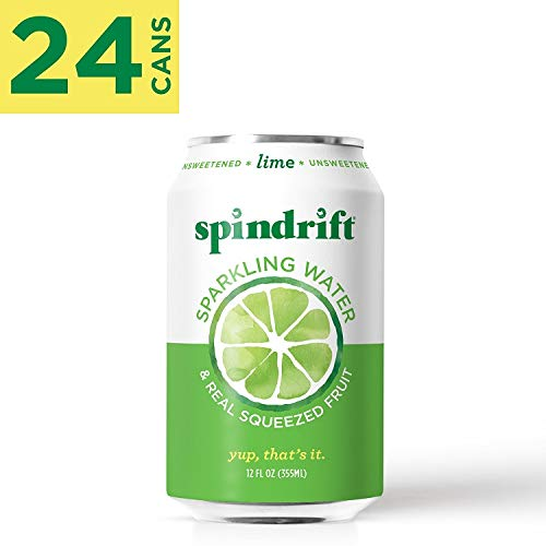 Spindrift Sparkling Water, Lime Flavored, Made with Real Squeezed Fruit, 12 Fluid Ounce Cans, Pack of 24 (Only 4 Calories per Seltzer Water Can)