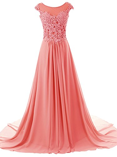 JAEDEN Women's Long Evening Dresses Lace Prom Party Dress Chiffon Bridesmaid Gown Cap Sleeve Watermelon US10