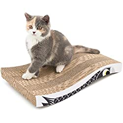Coching Cat Scratcher Cardboard Curved Shape Scratch Pad with Unique Three Different Scratch Textures Design Durable Scratching Pad Reversible with Organic Catnip Large