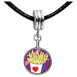 Chicforest Silver Plated Love French Fries Photo Black Crystal Flower dangle Charm Beads Fits Pandora Bracelets