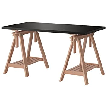 Ikea Linnmon Black Brown Desk Table 59x30u0026quot; With 2 Birch Brown Wood  Trestle Shelf