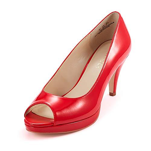 JENN ARDOR Women's Ladies Classic Mid Heel Round Peep Toe Pumps Dress Party Slip On Sandals Platform Comfort Heels Red