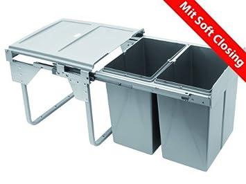 BoxLegend Soft Closing Abfallsammler Einbaumülleimer Einbau Abfalleimer 40L  mit 2-facher Trennung Soft Closing Trash Can