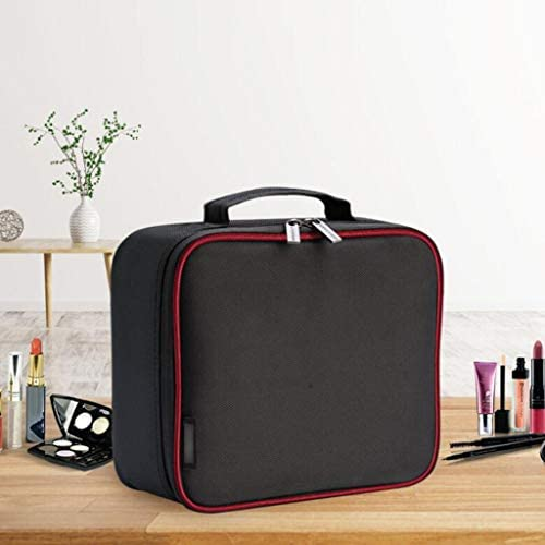化粧品収納ボックス 2層キャラクターの大容量化粧品収納ボックススーツケース付きドアツードアポータブルオックスフォード布素材メタルジッパーブラック QTKGG