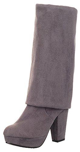 superior sobre Tacón Tirar de de Calentador gamuza Easemax parte Botines cálida mujer plataforma alta la alto Gris rodilla la de para Bg7OwOCx