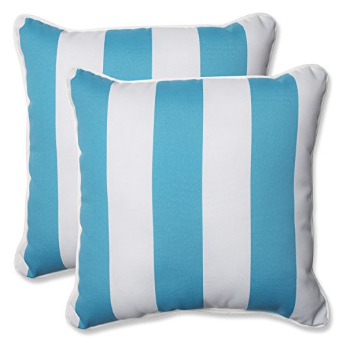 Pillow Perfect Outdoor Cabana Stripe Throw Pillow, 18.5-Inch, Turquoise, Set of 2