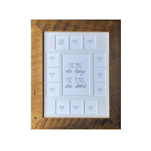 Hope Woodworking The Days are Long, The Years are Short School Picture Frame, 13 Openings, 11x14 Reclaimed Poplar Wood Frame, White Mat, School Days Frame, School Photo Frame, K-12 Mat, Rustic