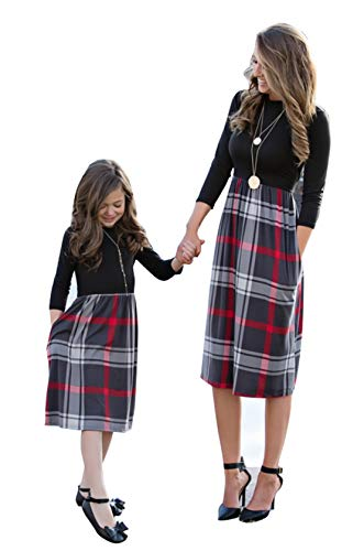 YT couple Mommy and Me Matching One Piece Plaid Dress Family Matching O-Neck Long Sleeve High Waist Midi Dress with Pockets (Black, Mom/M) by YT couple