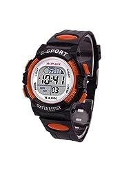 TOOPOOT Waterproof Children Boys LED Sports Watch With Alarm Date (orange)