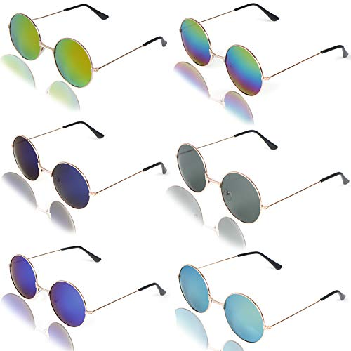 6 Pieces Round Hippie Sunglasses Retro Circle Glasses Hippie Dressing John Lennon Style Rimless Tinted Lens Glasses for Women,Men,Teenagers,Girls,Boys,6 Colors -