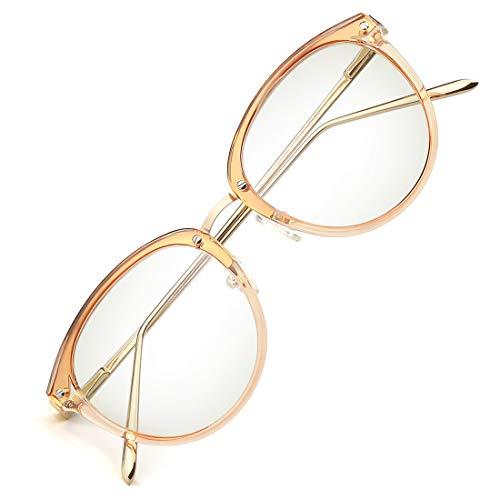 (TIJN Blue Light Block Glasses Round Optical Eyewear Non-prescription Eyeglasses Frame for Women (clear tawny(improved blue light blocking lens)) )