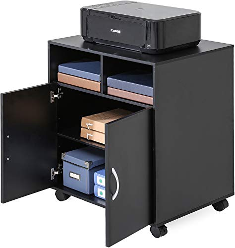 FITUEYES Office Cabinet Wood Mobile File Folders Printer Stand On Wheels PS406003WB