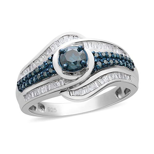 925 Sterling Silver Platinum Plated Blue Diamond Baguette Ring Size 7 Cttw 0.8