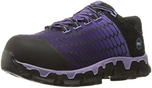 Timberland PRO Women's Powertrain Sport Alloy Toe SD+ Industrial and Construction Shoe, Black Synthetic/Lavender, 7.5 M US