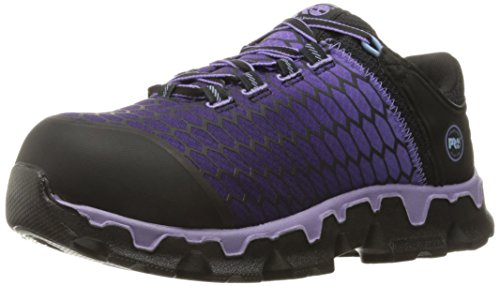 Timberland PRO Women's Powertrain Sport Alloy Toe SD+ Industrial and Construction Shoe, Black Synthetic/Lavender, 8.5 M US
