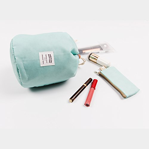 Zoevan Waterproof Cosmetic Bags Makeup Bag Travel Barrel Cases Kit Organizer Bathroom Storage Carry Case Toiletry Bags Multifunctional Bucket Toiletry Bag Polyester 300T (Blue)