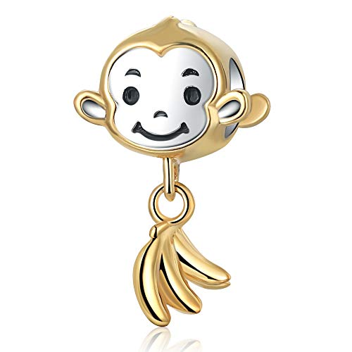 (Stepforward Cute 18K Gold Plating 925 Sterling Silver Monkey and Banana Pendant Charm Fit Bracelet and Necklace)