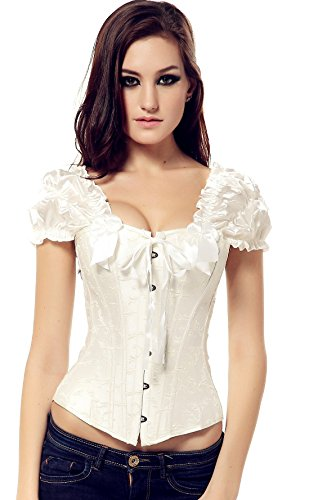 Embroidered Lace Up Corset - Arctic Cubic Short sleeve Feather Embroidered Overbust Lace Up Corset Bustier Top Ivory XXL