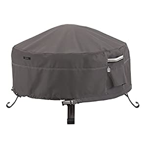 Classic Accessories Ravenna Full Coverage Round Fire Pit Cover - Premium Outdoor Cover with Durable and Water Resistant Fabric, Large (55-485-015101-EC)