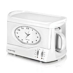 SWAN Vintage Teasmade and Alarm Clock, 20oz White