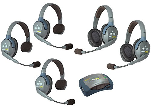 Eartec HUB532 UltraLITE Wireless System - 1 HUB Full Duplex Transceiver, 3-Pack of ULSR Single-Ear DECT Headset, 2-Pack ULDR Dual Ear Remote Headsets
