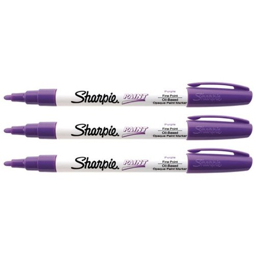 Sharpie Oil-Based Paint Marker, Fine Point, Pack of 3 (Purple)