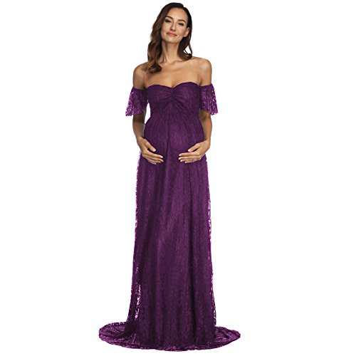 COSYOU Maternity Dress Sexy Off Shoulder Gown Dress for Women (XXL, Purple -