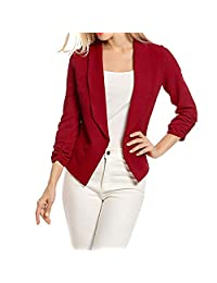 Women's 3/4 Sleeve Casual Work Solid Color Blazer Draped Lapel Open Front Jacket Suit