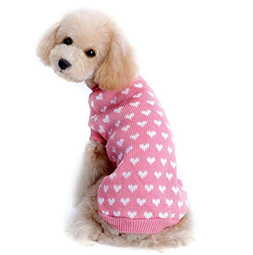 (Pet Sweater,JHKUNO Pet Small Dog Knit Sweet Heart Pattern Sweater Puppy Windproof Cold Weather Knitted Jumper Coats)