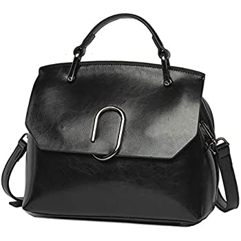 086d624cc45f Women handbag Vintage Soft Genuine Leather Work Tote Shoulder Bag (Black)