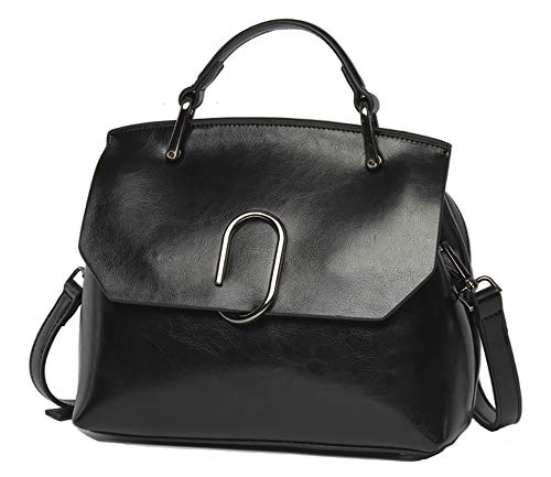 - Women handbag Vintage Soft Genuine Leather Work Tote Shoulder Bag (Black)