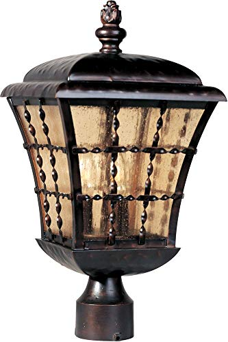 Maxim 30490ASOI Orleans 3-Light Outdoor Pole/Post Lantern, Oil Rubbed Bronze Finish, Amber Seedy Glass, CA Incandescent Incandescent Bulb , 25W Max., Dry Safety Rating, 3000K Color Temp, Standard Triac/Lutron or Leviton Dimmable, Frosted Glass Shade Material, 4930 Rated Lumens