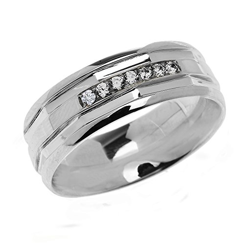 (Men's 925 Sterling Silver Comfort Fit Modern Wedding Band with Diamonds (Size 10.5))