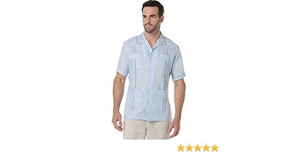 Cubavera - Camiseta de Manga Corta (100% Lino, Plisada), diseño de Guayabera