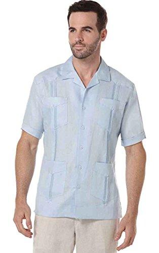 Pleated Guayabera (Cubavera Short Sleeve 100% Linen Plain Front Pleated Guayabera Shirt, Lt Blue, Large)