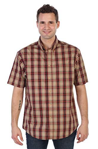 Gioberti Men's Plaid Short Sleeve Shirt, Khaki/Burgundy, Medium