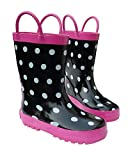 Foxfire for Kids Black & White Rubber Boots with Polka Dots Size 10