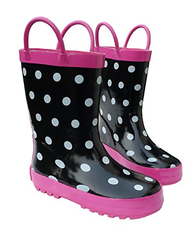 Foxfire for Kids Black & White Rubber Boots with Polka Dots Size 10 by Foxfire for Kids (Image #1)