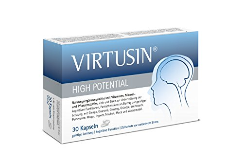 VIRTUSIN High Potential, 30 Kapseln, Nootropics zur Leistungssteigerung des Gehirn und Konzentration mit Guarana (besser als Koffein-Tabletten) Eisen, Vitamin B12, Coenzym Q10 - Made in Germany