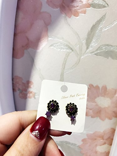 - usongs Korea imported genuine delicate purple sweet necklace pendant simple ear wire earrings 925 needles