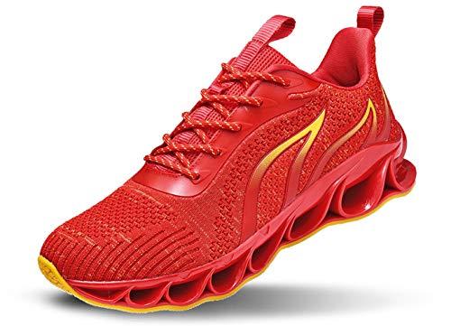JIYE Mens Fashion Running Shoes Lightweight Lace-up Walking Shoes Casual Blade Sneakers,Red,46EU=12US-Men