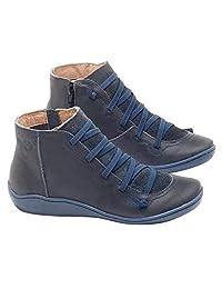 Zapatos otoño Atan para Arriba de la Vendimia de Las señoras Plana Tobillo Botas Botas de Cuero del Tobillo de imitación, para Mujeres con Cremallera Hebilla - Damas cómodo talón Botines 3,5cm